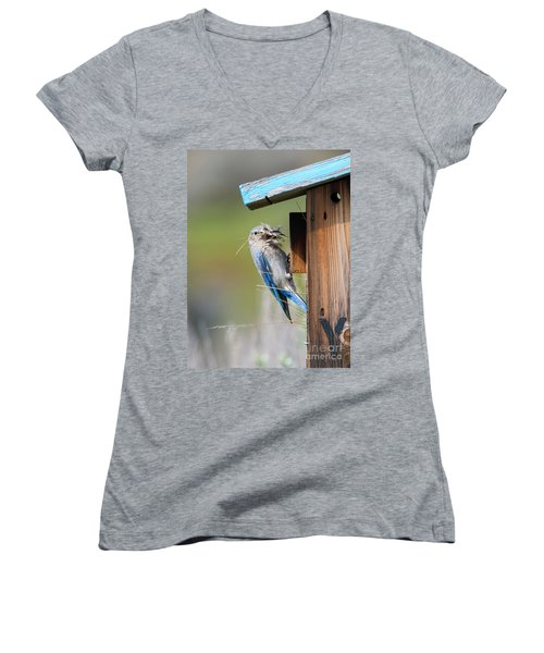 Women's V-Neck T-Shirt (Junior Cut) featuring the photograph More Than Mouthful by Mike Dawson