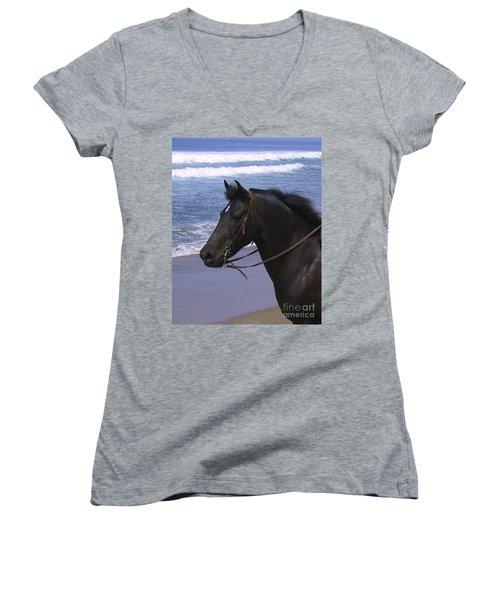 Morgan Head Horse On Beach Women's V-Neck