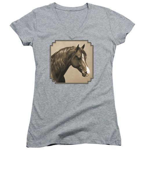 Morgan Horse Painting In Sepia Women's V-Neck T-Shirt (Junior Cut) by Crista Forest