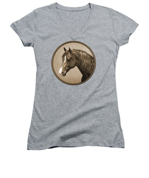 Morgan Horse Phone Case In Sepia Women's V-Neck (Athletic Fit)