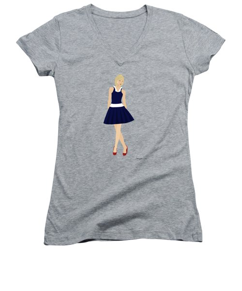 Women's V-Neck T-Shirt featuring the digital art Morgan by Nancy Levan