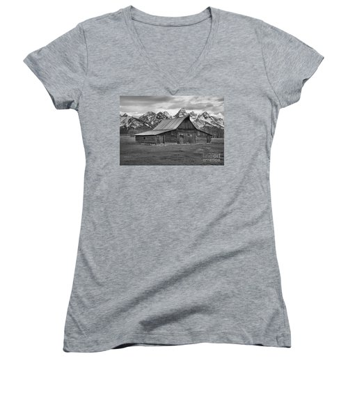 Mormon Homestead Barn Black And White Women's V-Neck T-Shirt (Junior Cut) by Adam Jewell