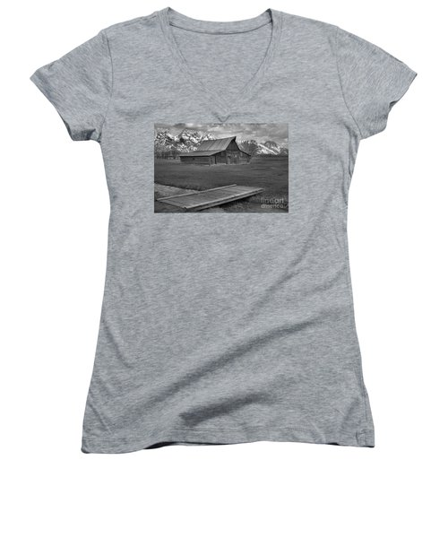 Mormon Row Water Crossing Black And White Women's V-Neck T-Shirt (Junior Cut) by Adam Jewell