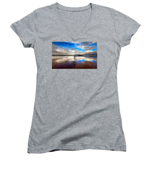 Morning Arrival At Lake Ballard Women's V-Neck (Athletic Fit)