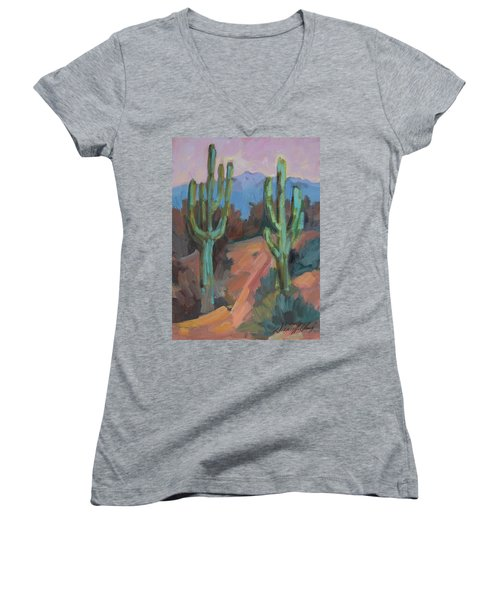 Women's V-Neck T-Shirt (Junior Cut) featuring the painting Morning At Fort Apache by Diane McClary