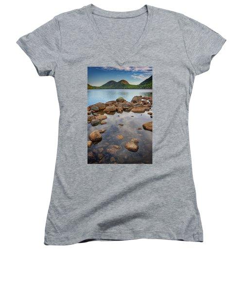 Morning At Jordan Pond Women's V-Neck T-Shirt (Junior Cut) by Rick Berk