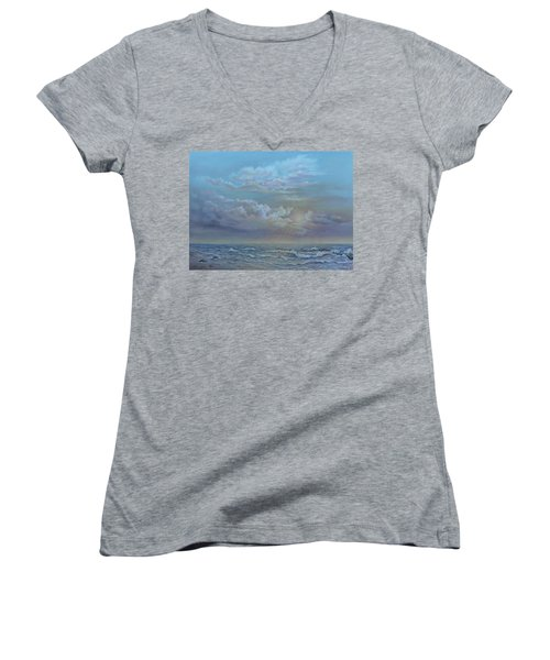 Women's V-Neck T-Shirt (Junior Cut) featuring the painting Morning At The Ocean by Luczay