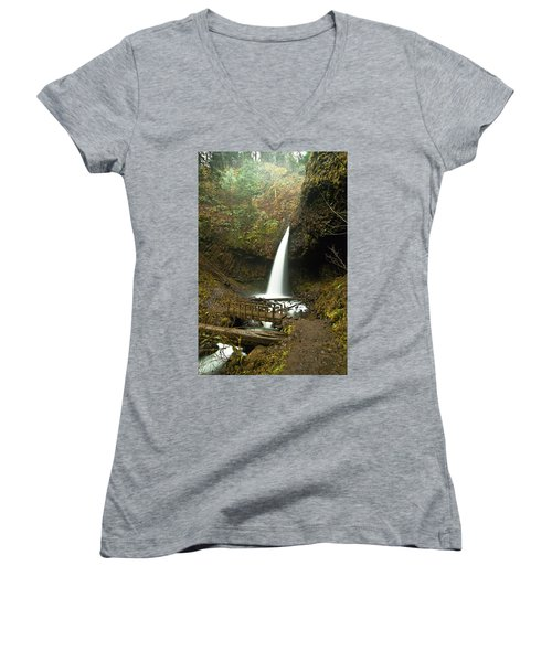 Morning At The Waterfall Women's V-Neck