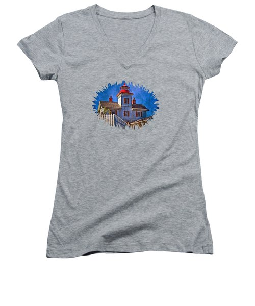 Morning At The Yaquina Bay Lighthouse Women's V-Neck T-Shirt (Junior Cut) by Thom Zehrfeld