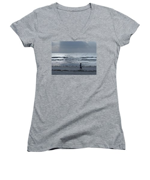 Morning Beach Walk On A Grey Day - Lone Dhow Women's V-Neck T-Shirt