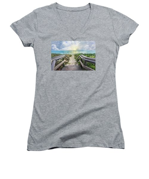 Women's V-Neck T-Shirt (Junior Cut) featuring the photograph Morning Blues At The Dune by Debra and Dave Vanderlaan