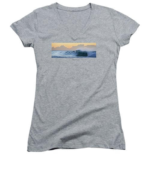 Women's V-Neck T-Shirt (Junior Cut) featuring the photograph Morning Breaks by Az Jackson