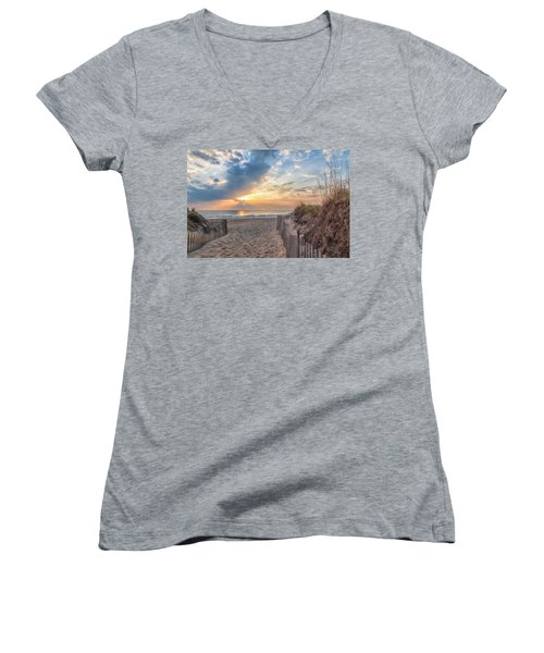 Morning Breaks Women's V-Neck T-Shirt (Junior Cut) by David Cote