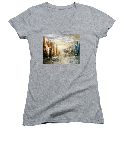 Morning By The Sea Women's V-Neck T-Shirt (Junior Cut) by Tatiana Iliina