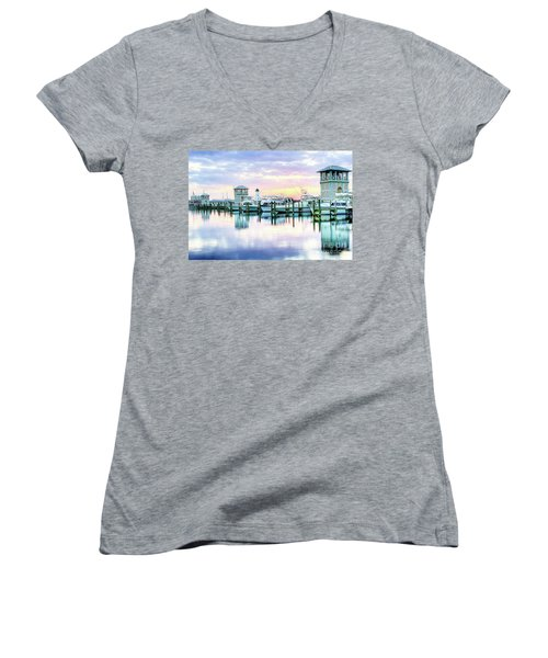 Morning Calm Women's V-Neck T-Shirt (Junior Cut) by Maddalena McDonald