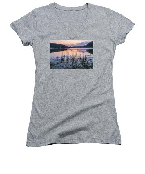 Morning Calmness Women's V-Neck T-Shirt (Junior Cut) by Angelo Marcialis