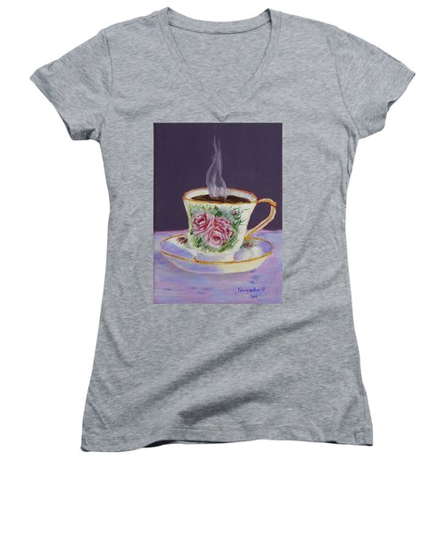 Morning Coffee Women's V-Neck (Athletic Fit)