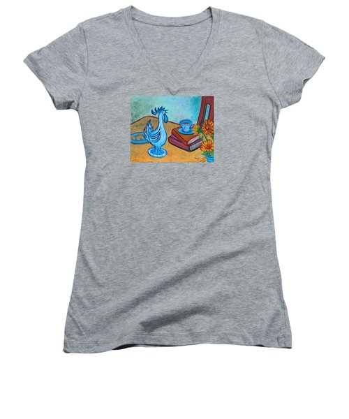 Women's V-Neck T-Shirt featuring the painting Morning Coffee Rooster by Xueling Zou