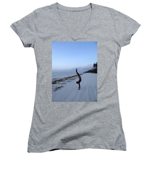 Morning Exercise On The Beach Women's V-Neck (Athletic Fit)