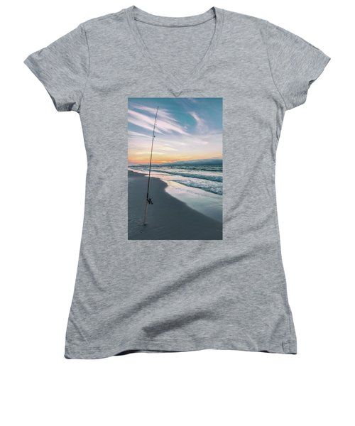 Women's V-Neck T-Shirt (Junior Cut) featuring the photograph Morning Fishing At The Beach  by John McGraw