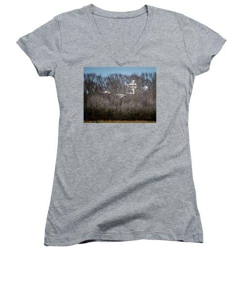 Morning Flight Of Tundra Swan Women's V-Neck T-Shirt (Junior Cut)