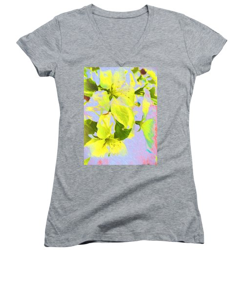 Women's V-Neck T-Shirt (Junior Cut) featuring the photograph Morning Floral by Kathy Bassett