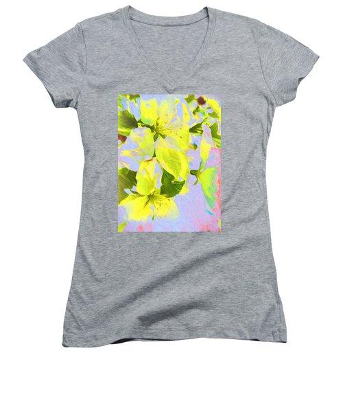 Morning Floral Women's V-Neck T-Shirt (Junior Cut) by Kathy Bassett