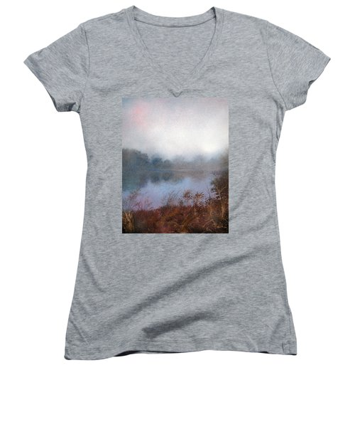 Women's V-Neck featuring the painting Morning Fog by Andrew King