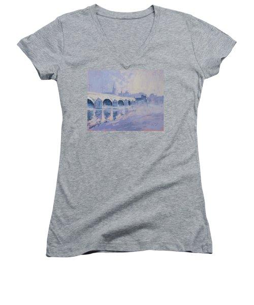 Morning Fog Around The Old Bridge Women's V-Neck T-Shirt