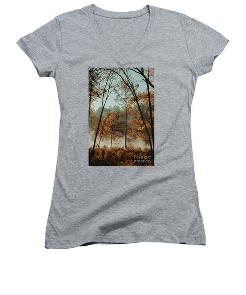 Women's V-Neck T-Shirt (Junior Cut) featuring the photograph Morning Fog At The River by Iris Greenwell