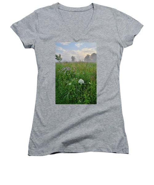 Morning Fog Over Glacial Park Prairie Women's V-Neck T-Shirt