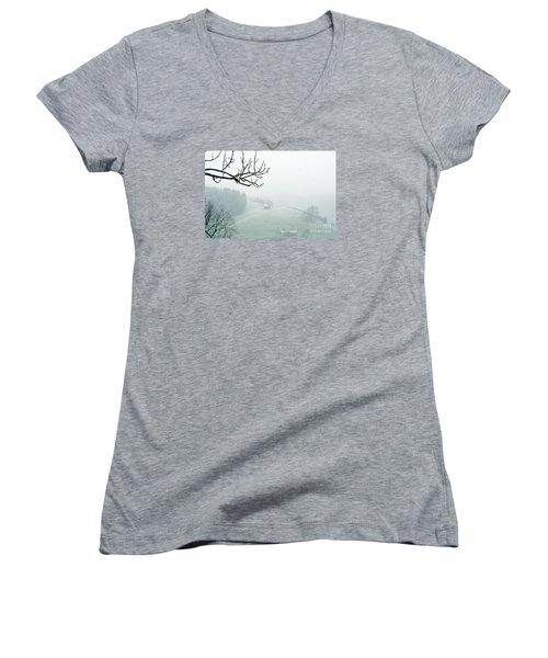 Women's V-Neck T-Shirt (Junior Cut) featuring the photograph Morning Fog - Winter In Switzerland by Susanne Van Hulst