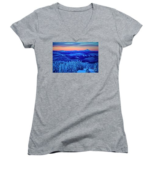 Morning From Timberline Lodge Women's V-Neck T-Shirt
