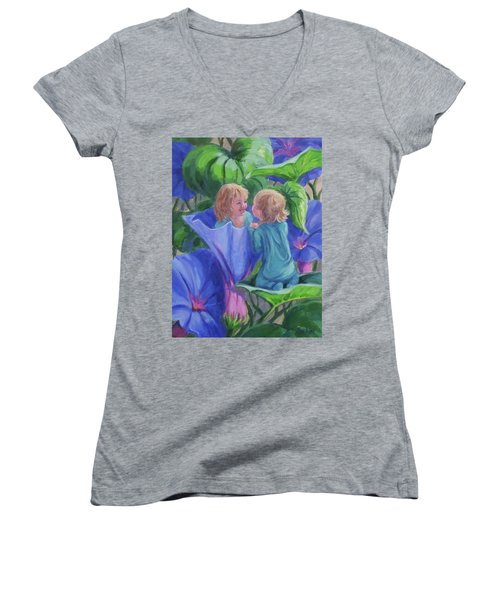 Women's V-Neck T-Shirt (Junior Cut) featuring the painting Morning Glories by Karen Ilari