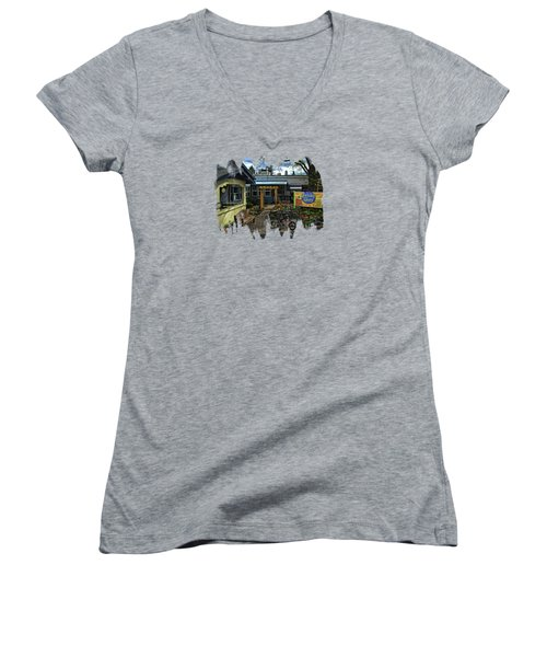 Women's V-Neck T-Shirt (Junior Cut) featuring the photograph Morning Glory Cafe Ashland by Thom Zehrfeld