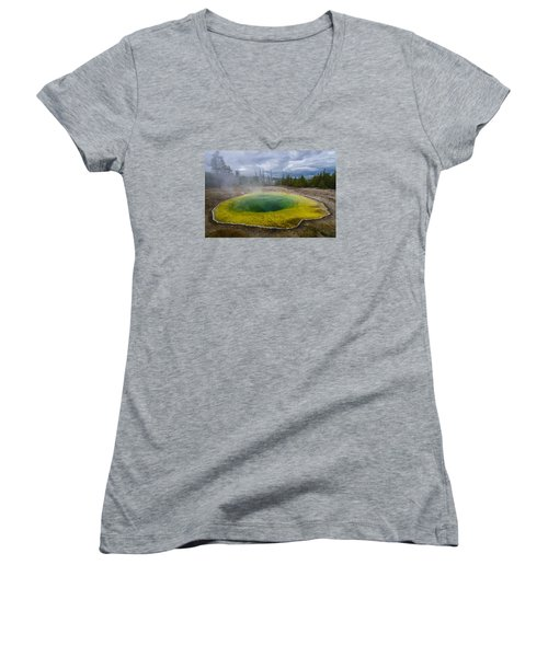 Women's V-Neck T-Shirt (Junior Cut) featuring the photograph Morning Glory Pool by Gary Lengyel