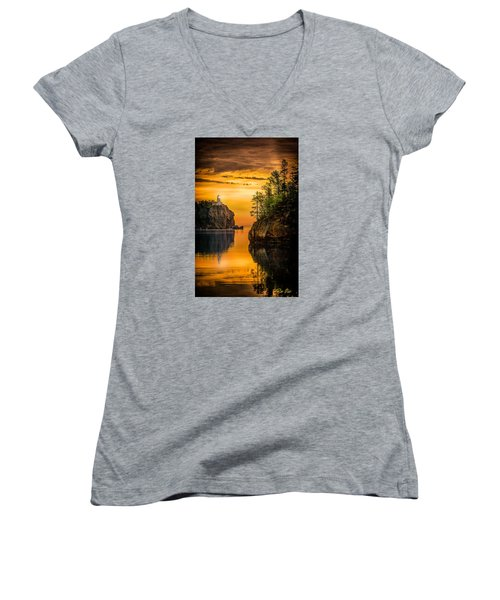 Morning Glow Against The Light Women's V-Neck T-Shirt (Junior Cut) by Rikk Flohr