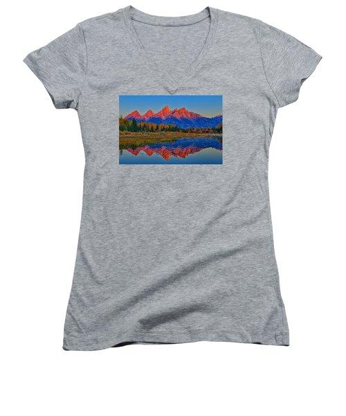 Morning Glow Women's V-Neck T-Shirt (Junior Cut) by Greg Norrell