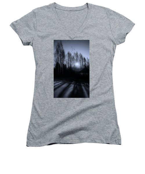 Morning Glow Women's V-Neck T-Shirt (Junior Cut) by Rose-Marie Karlsen