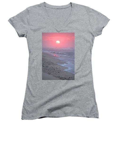Women's V-Neck T-Shirt (Junior Cut) featuring the photograph Morning Haze by  Newwwman