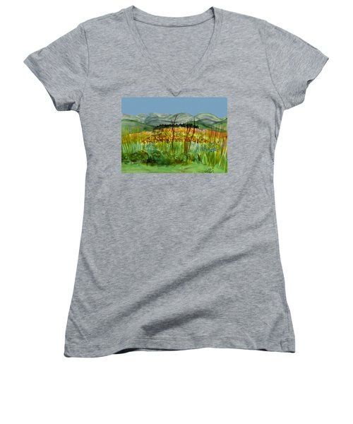 Women's V-Neck T-Shirt (Junior Cut) featuring the painting Morning In Backyard At Barton by Donna Walsh