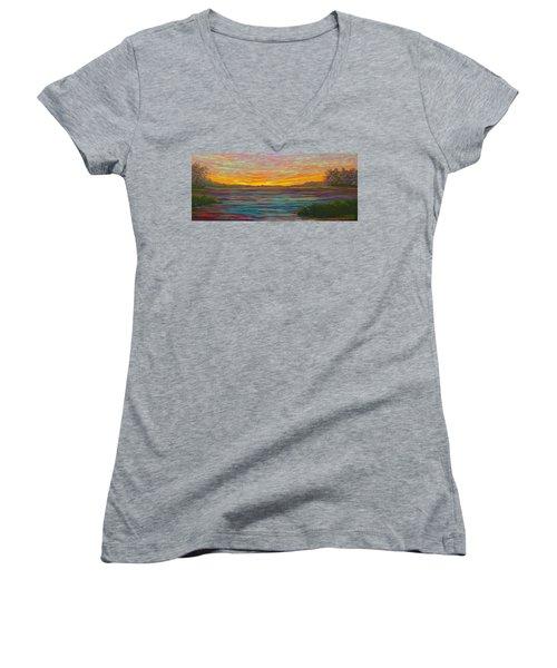 Southern Sunrise Women's V-Neck T-Shirt (Junior Cut) by Jeanette Jarmon