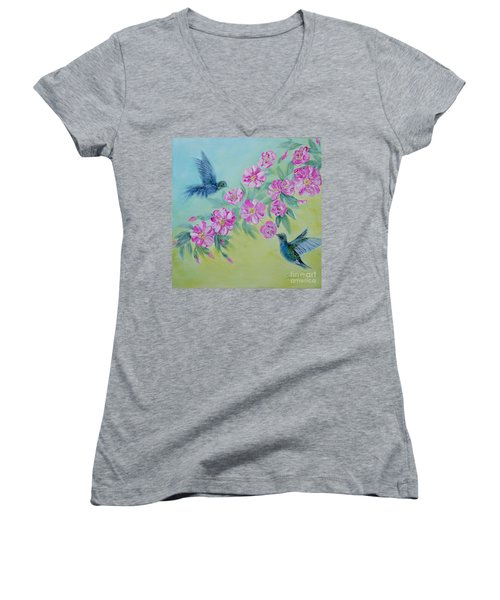 Morning In My Garden. Special Collection For Your Home Women's V-Neck T-Shirt (Junior Cut) by Oksana Semenchenko