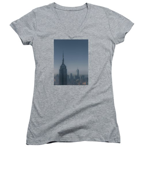 Morning In New York Women's V-Neck T-Shirt (Junior Cut) by Chris Fletcher