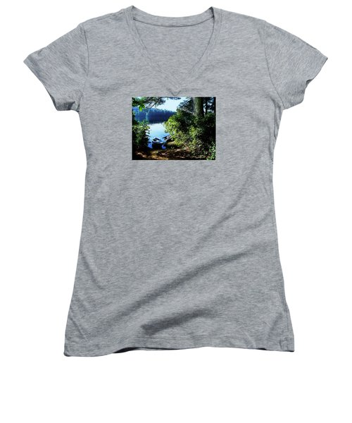 Morning Kayak Solitude Women's V-Neck T-Shirt (Junior Cut) by Joy Nichols