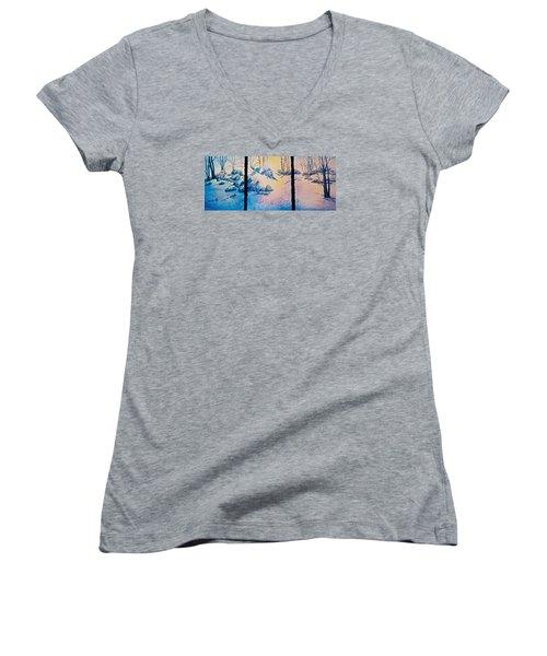 Morning Light Women's V-Neck T-Shirt (Junior Cut) by Carolyn Rosenberger