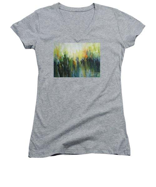 Morning Light Women's V-Neck T-Shirt (Junior Cut) by Elena Oleniuc