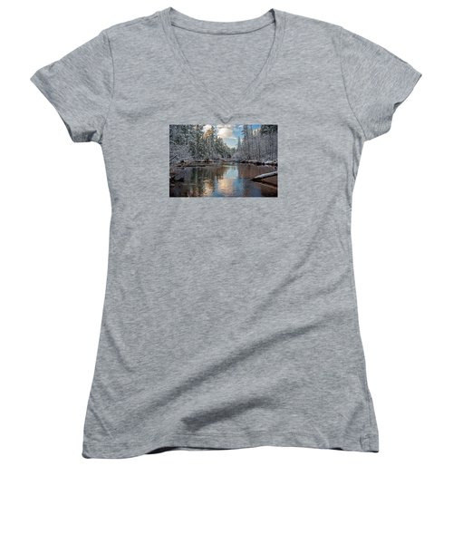 Morning Light On Grand Marais Creek Women's V-Neck T-Shirt