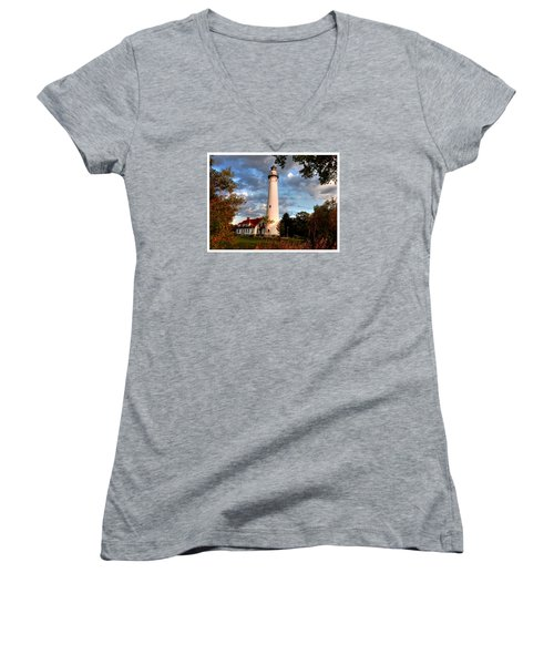 Women's V-Neck T-Shirt (Junior Cut) featuring the photograph Morning Light On The Light by Janice Adomeit
