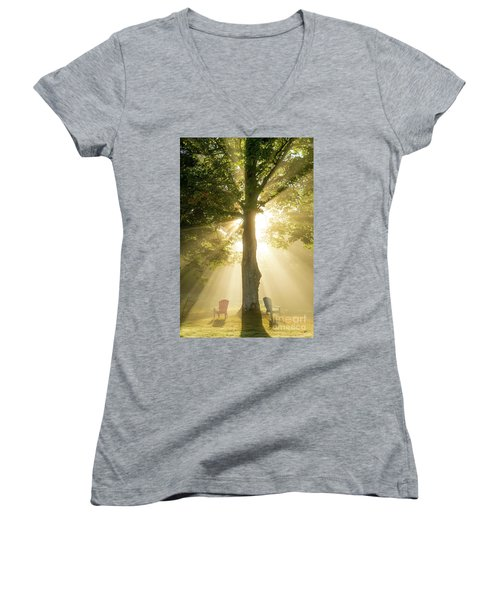 Morning Light Shining Down Women's V-Neck (Athletic Fit)